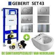 Geberit UP320 Toiletset set43 Creavit Free Met Bidet Rimfree Met Sigma Drukplaat