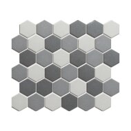 Mozaïek London 28.1x32.5 cm Onverglaasd Porselein Hexagon, Mat Antislip En Donker Grijs Mix (Prijs Per 0.91 m2)