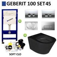 Geberit UP100 Toiletset set45 Wiesbaden Vesta Rimless Mat Zwart Met Delta drukplaat