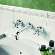 Wastafelmengkraan Hotbath Amice Inbouw 2-kruisgreep Gebogen 18 cm Chroom