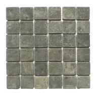 Mozaïek Parquet 5x5 Black Gray Tumble Lava/Riverstone 30x30 cm (Prijs per 1m²)