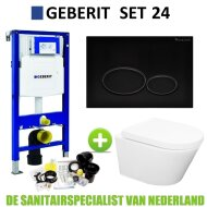 Geberit UP320 Toiletset set24 Wiesbaden Vesta Rimless 52cm Met Matzwarte Drukplaat