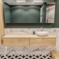 Badkamermeubel BWS Madrid Washed Oak 180 cm met Massief Topblad en Keramische Waskom Rechts (2 lades, 1 kraangat)