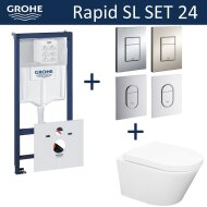 Grohe Rapid SL Toiletset set24 Wiesbaden Vesta Rimless 52 cm met Grohe Arena of Skate drukplaat