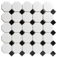 Mozaïektegel The Mosaic Factory Paris Octagon 56x56 en 23x23 mm Porselein Wit/Zwart