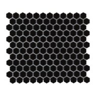Mozaïek Barcelona 26x30 cm Geglazuurd Porselein Hexagon Glanzend Zwart (Prijs Per 0.78 m2)