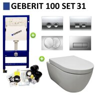 Geberit UP100 Toiletset set31 Sanilux Easy Flush Randloos 48cm compact met Delta drukplaat