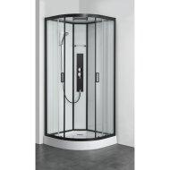 Douchecabine Allibert Uyuni 225x90x90 cm Kwartrond Mat Zwart Schuifdeuren 4mm Helder Glas