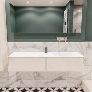 Badkamermeubel BWS Madrid Wit 150x45x30 cm Mat Witte Solid Surface Wastafel Rechts (2 lades, 0 kraangaten)