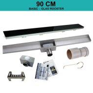 RVS Douchegoot BASIC met uitneembaar sifon 90x7cm 6,7cm diep GLAS ROOSTER BWTP/DR90PSGLAS