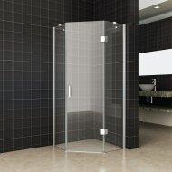 5-hoek douchecabine Get Wet by Sealskin Costom Swingdeur rechts 90x90cm Zilver hoogglans Helder glas | Tegeldepot.nl