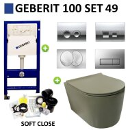 Geberit UP100 Toiletset set49 Civita Randloos Mat Legergroen Met Delta drukplaat