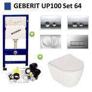 Geberit UP100 Toiletset set64 Plieger Lima met Delta drukplaat