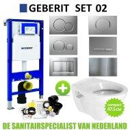 Geberit UP320 Toiletset set02 B&W Compact 47.5 cm met Sigma drukplaat