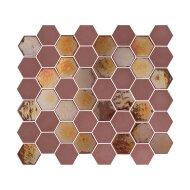 Mozaïek Valencia 27.8x32.5 cm Recycled Glas, Hexagon Mat En Glanzend Burgundy (Prijs Per 1.00 m2)
