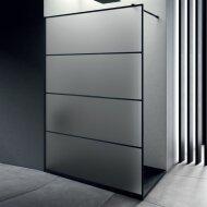 Inloopdouche Lacus Tremiti Wall 100x200 cm Mat Glas Stabilisatiestang Zwart