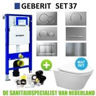 Geberit UP320 Toiletset set37 Wiesbaden Vesta Rimless Mat wit met Sigma drukplaat