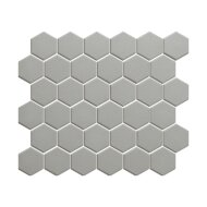 Mozaïek London 28.1x32.5 cm Onverglaasd Porselein Hexagon, Mat Antislip En Donker Grijs (Prijs Per 0.91 m2)