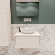 Badkamermeubel BWS Madrid Wit 60 cm met Massief Topblad en Keramische Waskom (0 kraangaten)
