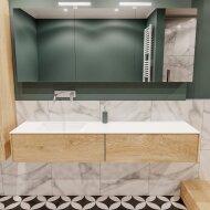 Badkamermeubel BWS Madrid Washed Oak 180x45x30 cm Mat Witte Solid Surface Wastafel Links (2 lades, 0 kraangaten)