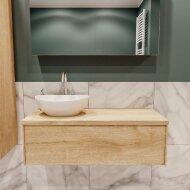 Badkamermeubel BWS Madrid Washed Oak 100 cm met Massief Topblad en Keramische Waskom Links (1 kraangat)
