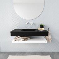 Badkamermeubel BWS Ibiza 100 cm met Mat Wit Planchet Solid Surface Wastafel Mat Zwart (zes varianten)
