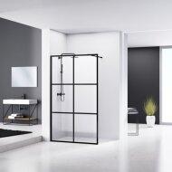 Douchewand Van Rijn ST04 Helder Glas 8 mm 6 delen Aluminium Profiel Zwart 90x200 cm