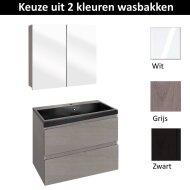 Badmeubelset Differnz The Collection met Spiegelkast 60x43x61 cm (Wit, Grijs en Zwart)