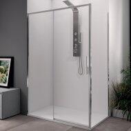 Douchecabine Lacus Torcello Schuifdeur met Zijwand 140x200 cm 6 mm Helder Glas Chroom