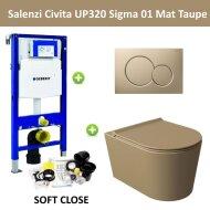 Geberit UP320 Toiletset Wandcloset Salenzi Civita Mat Taupe met Sigma 01 Drukplaat