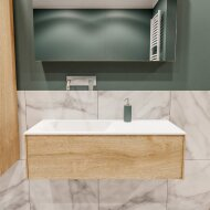 Badkamermeubel BWS Madrid Washed Oak 100x45x30 cm Mat Witte Solid Surface Wastafel Links (0 kraangaten)