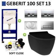 Geberit UP100 Toiletset set13 Idevit Alfa Mat zwart Rimfree met Delta drukplaat