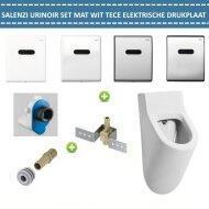 Urinoir Set Salenzi Hung Achterinlaat Mat Wit met TECE Drukplaat Elektronisch