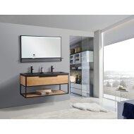 Badkamermeubel Casajoy New York 120x46x50cm Eiken Met Zwart RVS Frame
