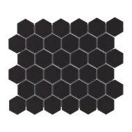 Mozaïek Barcelona 28.1x32.5 cm Geglazuurd Porselein Hexagon Glanzend Zwart (Prijs Per 0.91 m2)