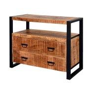 Onderkast Boss & Wessing Mango Wood 100x45x81cm Met Mat Zwart Metaal