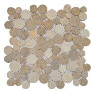 Mozaïek Coin Mix Onyx/Sunset Brown/Cream Marmer 30x30 cm (Prijs per 1m²)