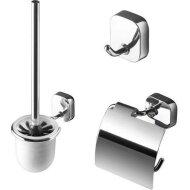 Toiletset Accessoires Geesa Thessa met Toiletborstel, Toiletrolhouder en Handdoekhaak Chroom