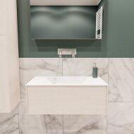 Badkamermeubel BWS Madrid Wit 80x45x30 cm Mat Witte Solid Surface Wastafel (0 kraangaten)