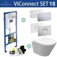 Villeroy & Boch ViConnect Toiletset set18 Wiesbaden Vesta Junior Rimless met ViConnect drukplaat
