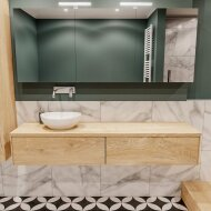 Badkamermeubel BWS Madrid Washed Oak 180 cm met Massief Topblad en Keramische Waskom Links (2 lades, 0 kraangaten)