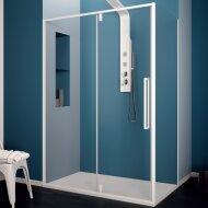 Douchecabine Lacus Murano Klapdeur 110x200 cm 6 mm Met Zijwand Helder Glas Wit