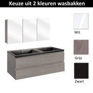 Badmeubelset Differnz The Collection met Spiegelkast 120x43x61 cm (Wit, Grijs en Zwart)