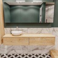 Badkamermeubel BWS Madrid Washed Oak 180 cm met Massief Topblad en Keramische Waskom Links (2 lades, 1 kraangat)