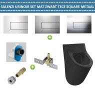 Urinoir Set Salenzi Hung Achterinlaat Mat Zwart met TECE Square Drukplaat Metaal