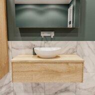 Badkamermeubel BWS Madrid Washed Oak 100 cm met Massief Topblad en Keramische Waskom (0 kraangaten)