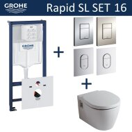 Grohe Rapid SL Toiletset set16 B&W Ideal Standard Connect met Grohe Arena of Skate drukplaat