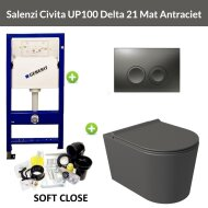 Geberit UP100 Toiletset Wandcloset Salenzi Civita Mat Antraciet met Delta 21 Drukplaat
