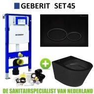Geberit UP320 Toiletset set45 Wiesbaden Vesta Rimless Mat Zwart Met Matzwarte Drukplaat