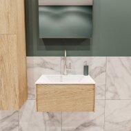 Badkamermeubel BWS Madrid Washed Oak 60x45x30 cm Mat Witte Solid Surface Wastafel (1 kraangat)